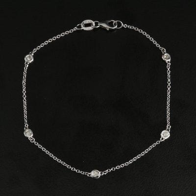 14K White Gold Diamond Station Bracelet