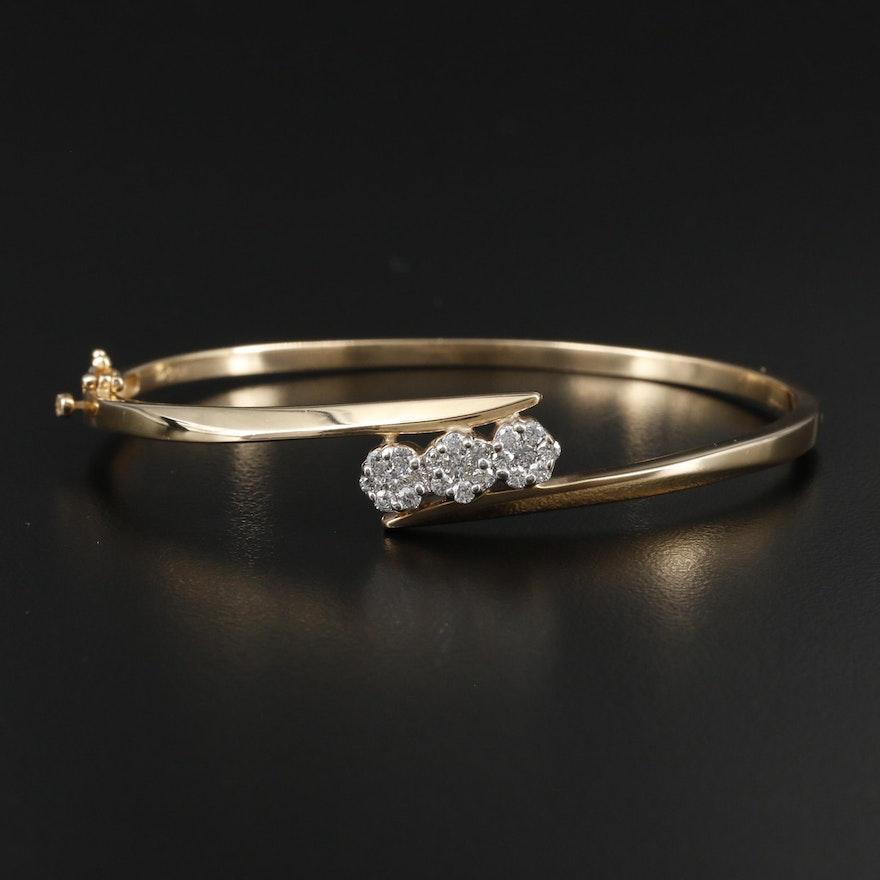 14K Yellow Gold Diamond Cluster Hinged Bracelet