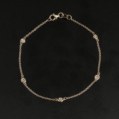 14K Yellow Gold Diamond Station Bracelet