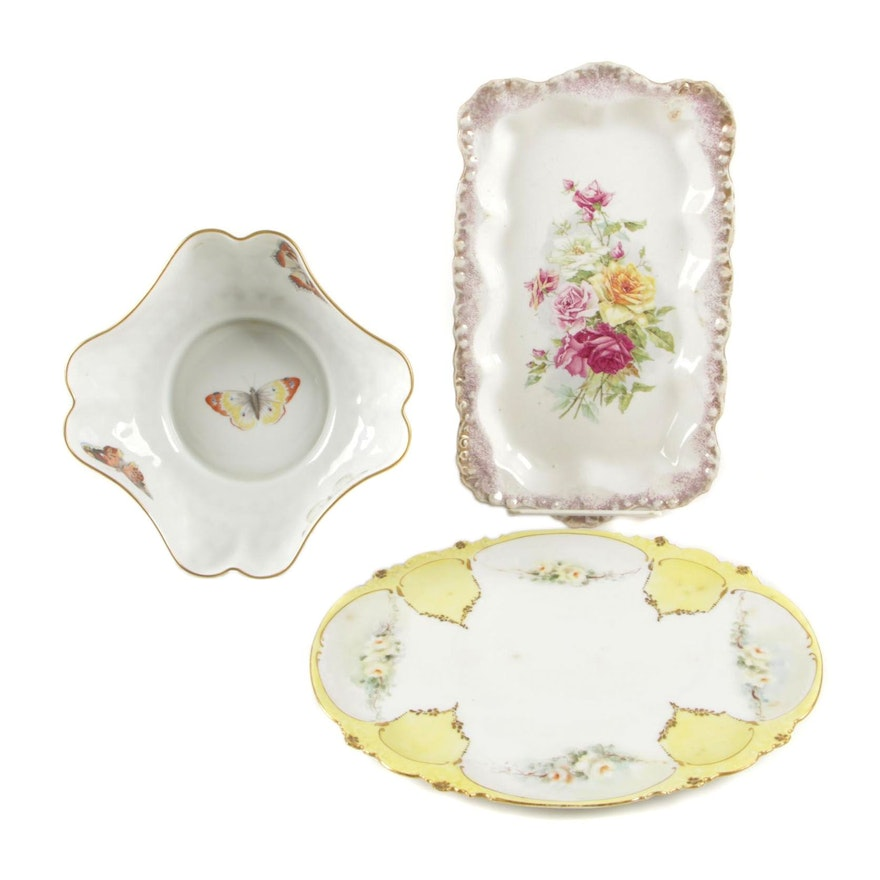 "L. Bernardaud & Co. ""Butterfly"" Limoges Porcelain Bowl and Other Ceramic Trays"