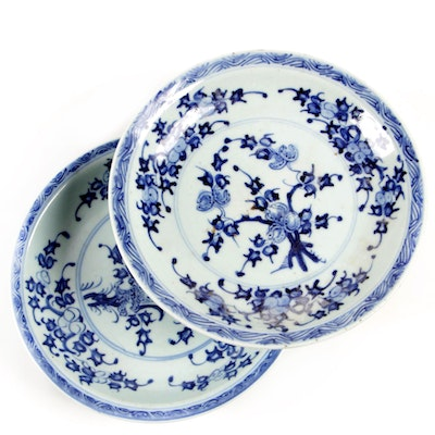 Chinese Hand-Painted Blue and White Low Bowls