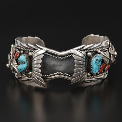 Geneva Apachito Navajo Diné Sterling Silver Turquoise Watch Cuff Bracelet