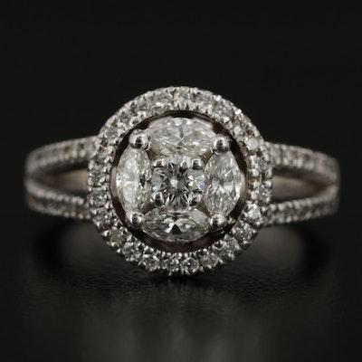 14K White Gold 1.52 CTW Diamond Ring