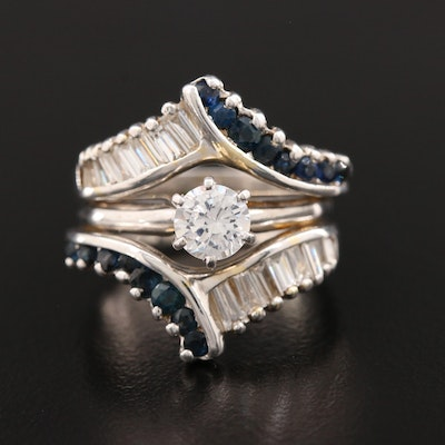 14K White Gold Cubic Zirconia, Diamond and Sapphire Ring