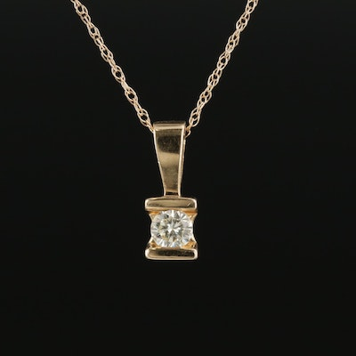 14K Yellow Gold 0.12 CT Diamond Pendant on Singapore Chain Necklace