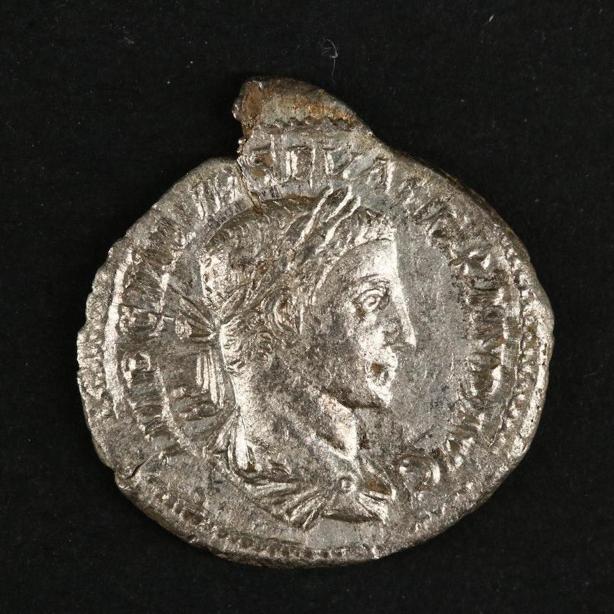 Ancient Roman Imperial AR Denarius of Severus Alexander, ca. 224 A.D.