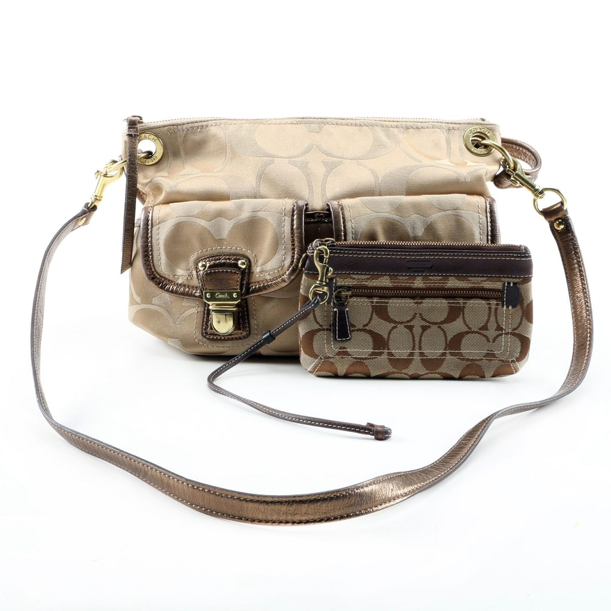 Coach Signature Sateen Hippie Bag with Signature Canvas and Leather Wristlet