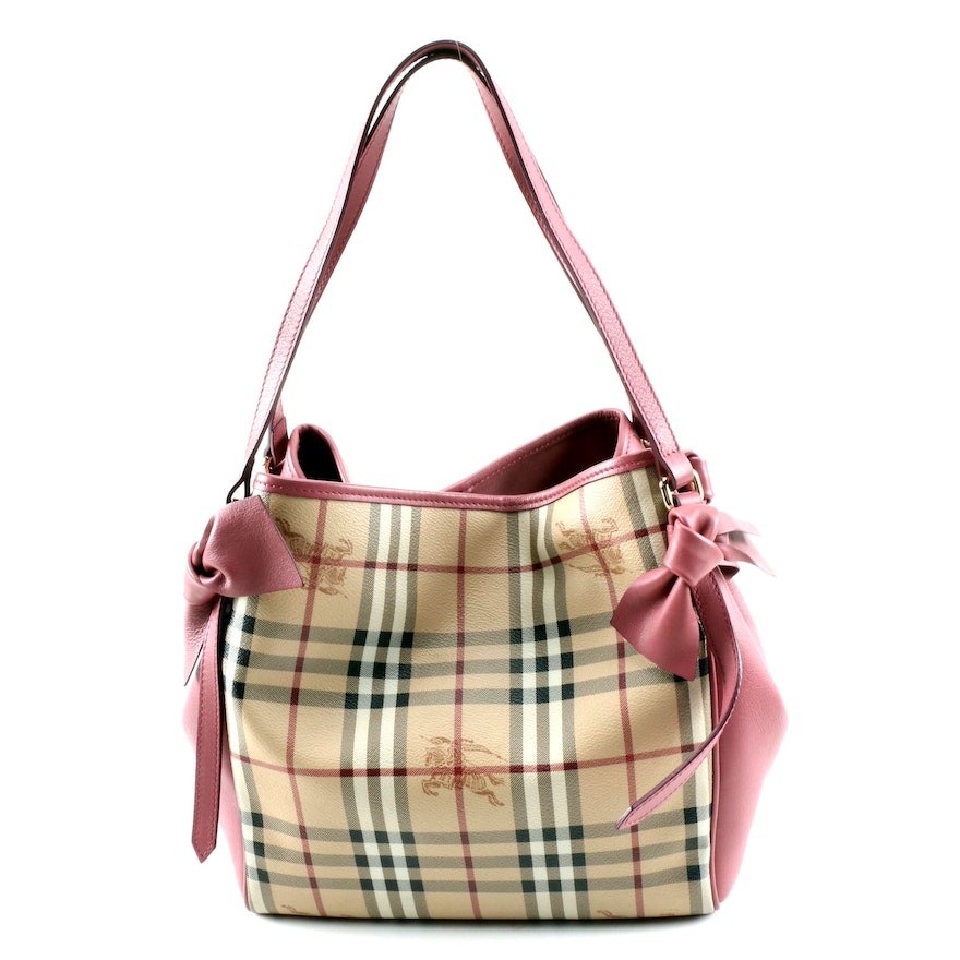 """Burberry Canterbury """"Haymarket"""" Coated Canvas and Pink Leather Shoulder Tote"""