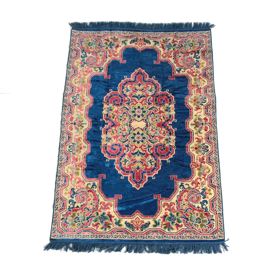 4'0 x 6'7 Hand-Made Indo-Persian Floral Wool and Silk Rug