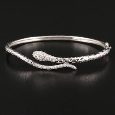 14K White Gold Diamond Hinged Snake Bangle Bracelet