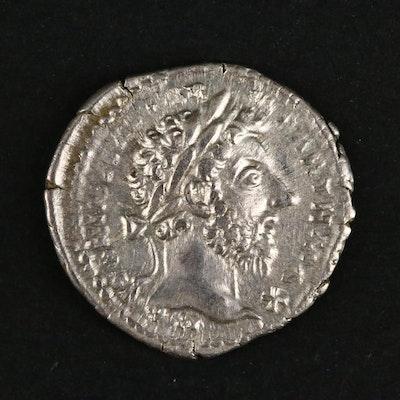 Ancient Roman Imperial AR Denarius of Marcus Aurelius, ca. 168 A.D.