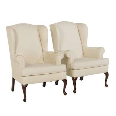 Paul Robert Queen Anne Style Fabric Upholstered Wingback Armchairs, Late 20th C.