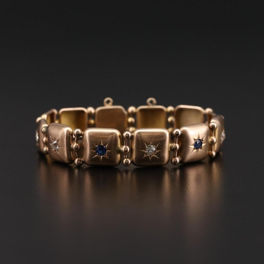 10K Yellow Gold Diamond and Sapphire Starburst Panel Bracelet