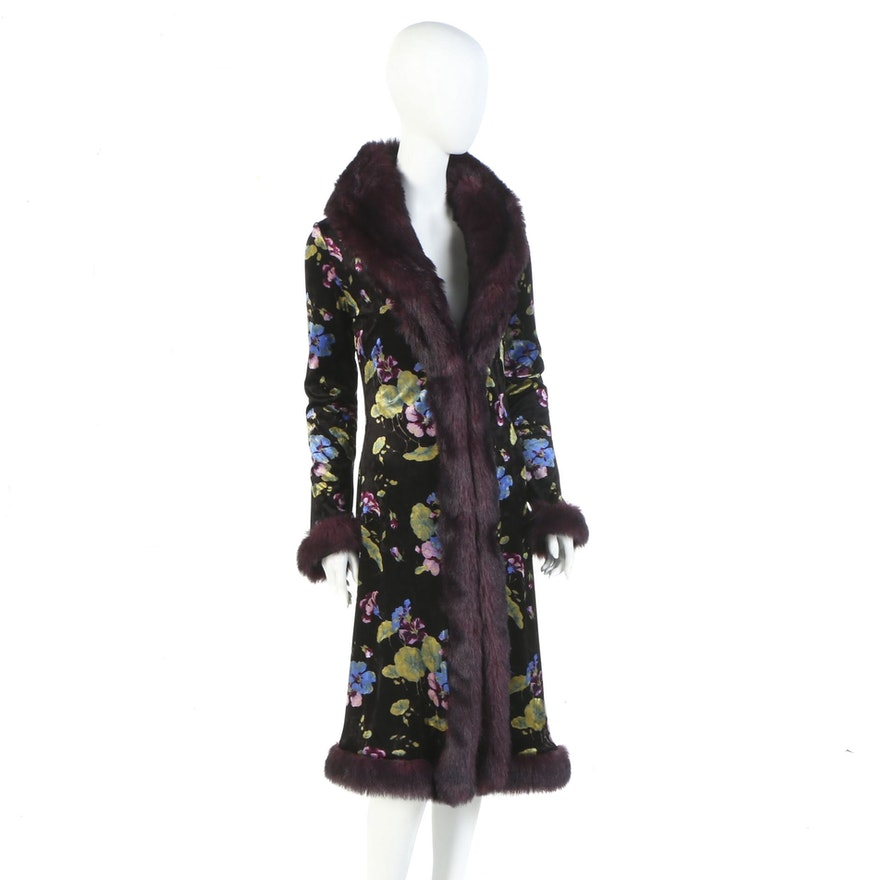 Betsey Johnson New York Floral Print Velveteen Coat with Faux Fur Trim