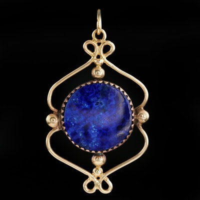 Sterling Silver and 14K Yellow Gold Lapis Lazuli Pendant