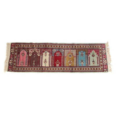 2'7 x 8'3 Hand-Knotted Persian Kerman Wool Prayer Rug