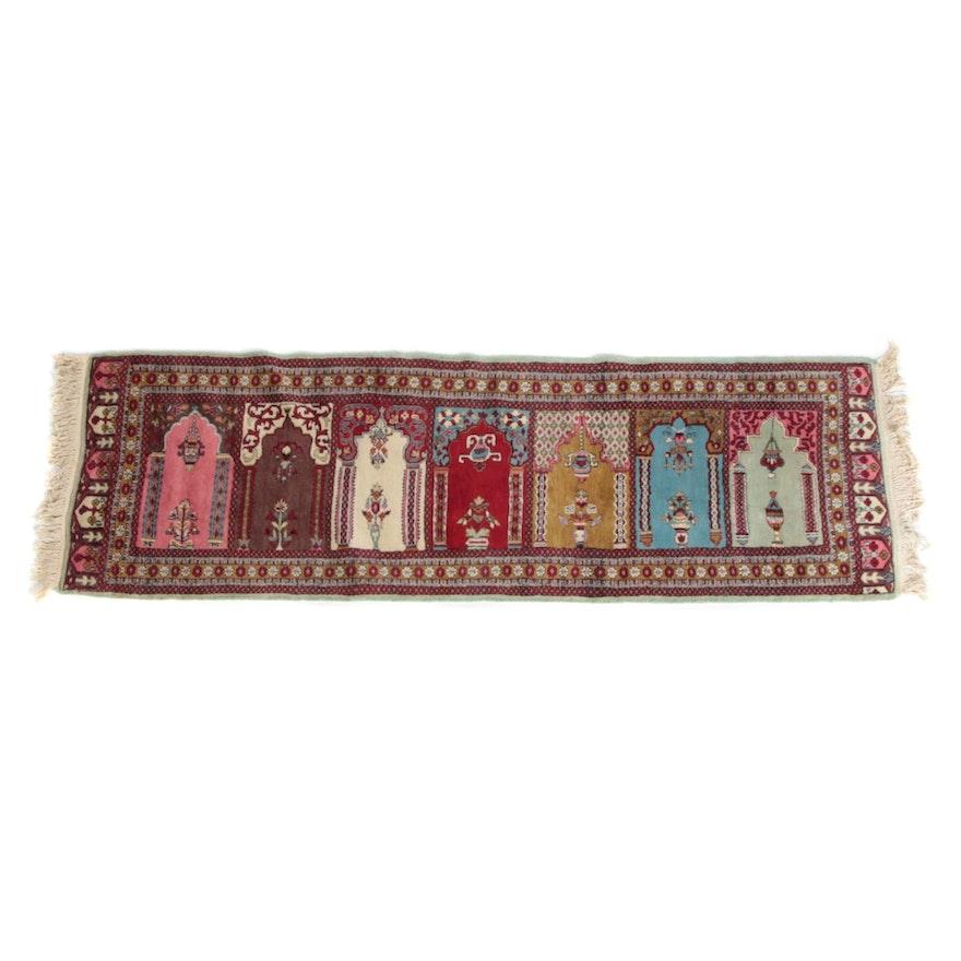2'7 x 8'3 Hand-Knotted Persian Kerman Wool Prayer Rug