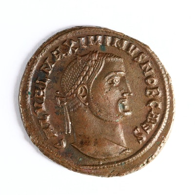 Ancient Roman Imperial AE Follis Coin of Maximinus II, ca. 308 A.D.