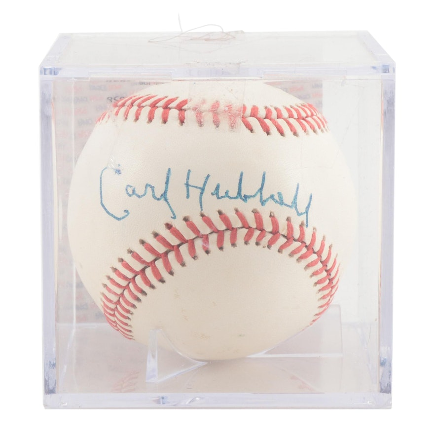 Carl Hubbell Signed Rawlings National League Baseball, PSA/DNA COA