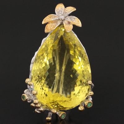 Sterling Silver Citrine and Emerald Converter Brooch