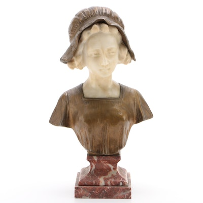 Art Deco Gilt Metal and Marble Female Bust after Affortunato Gory