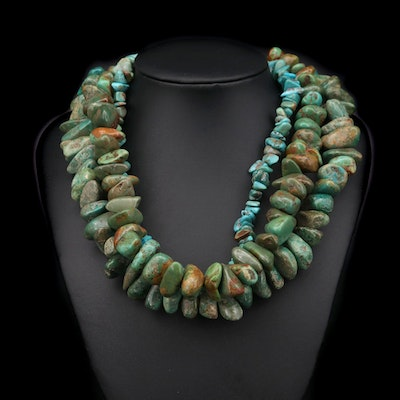 Turquoise Necklace with Sterling Silver Clasp