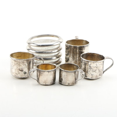 Webster and Other Sterling Silver Cups with Silver Plate and Glass Coasters