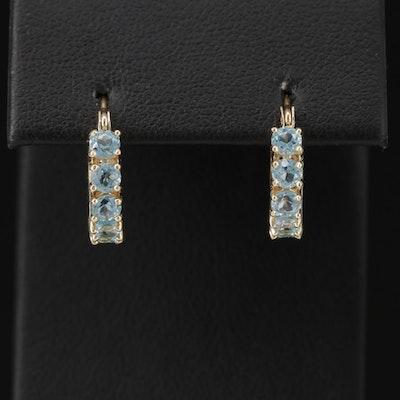 14K Yellow Gold, Blue Topaz Huggie Earrings