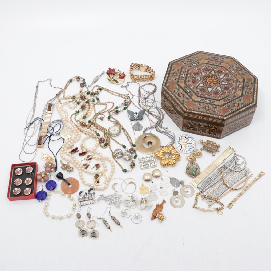 Costume Jewelry Assortment with Mother of Pearl Inlaid Jewelry Box