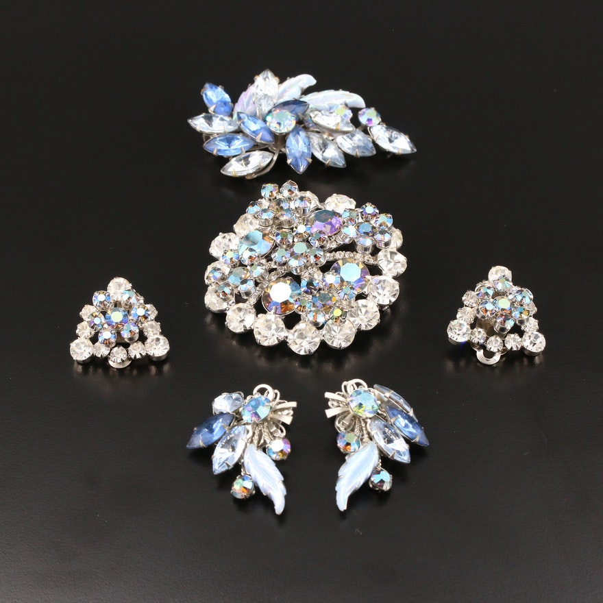 Vintage Glass Earrings and Brooch Sets