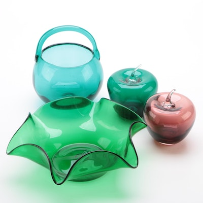 Hand Crafted Blenko Glass Apples, Basket and Ruffled Bowl
