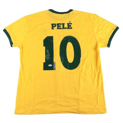 Pelé Signed Brazil National Team Replica Jersey COA