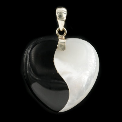 14K Yellow Gold Black Onyx and Mother of Pearl Heart Pendant
