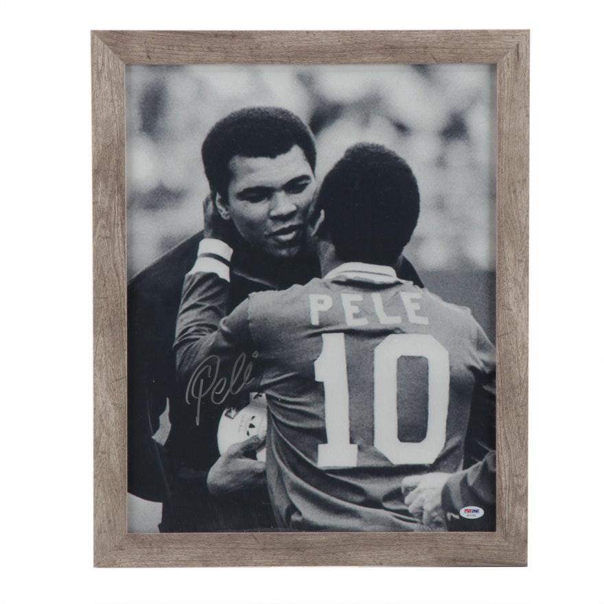 Péle Signed Photo Print with Muhammad Ali, Framed   COA