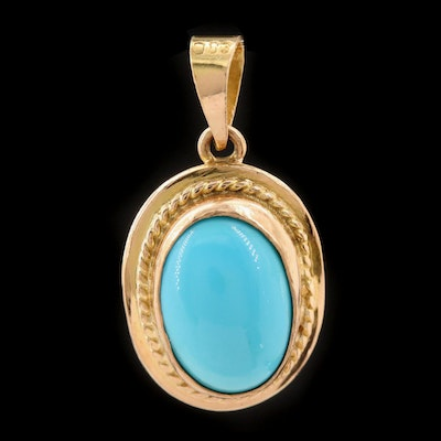 14K Yellow Gold Turquoise Pendant