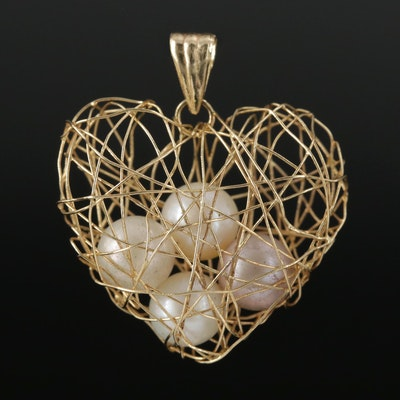 14K Yellow Gold Pearl Heart Wire Cage Pendant