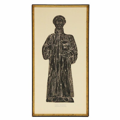 "English Bas-Relief Charcoal Rubbing ""Ecclesiastic in Gown"""