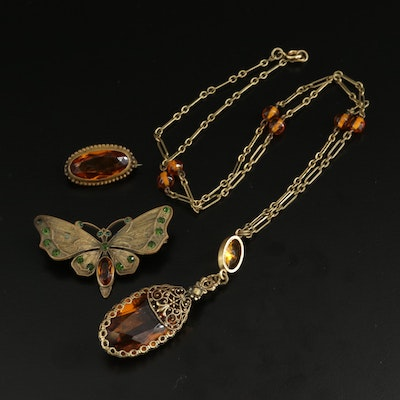 Vintage Orange and Green Glass Necklace and Brooches Including Butterfly Brooch