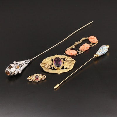 Assortment of Vintage Jewelry Featuring Hat Pins