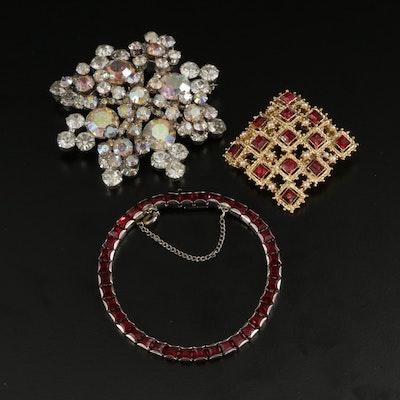Vintage Rhinestone Tennis Bracelet and Brooches