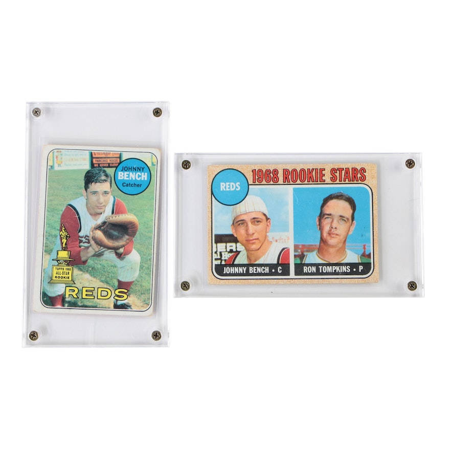 Johnny Bench Cincinnati Reds Rookie and 1969 Topps Baseball Cards