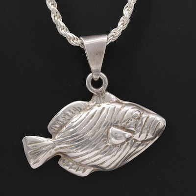Sterling Silver Fish Pendant Necklace