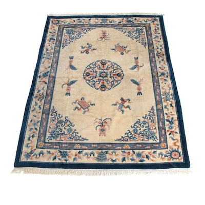 8'2 x 11'8 Hand-Knotted Chinese Carved Wool Rug