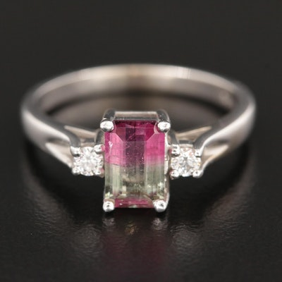 14K White Gold Watermelon Tourmaline and Diamond Ring