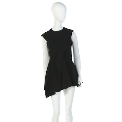 Christian Dior of Paris Black Wool Silk Blend Belted Mini Dress Tunic