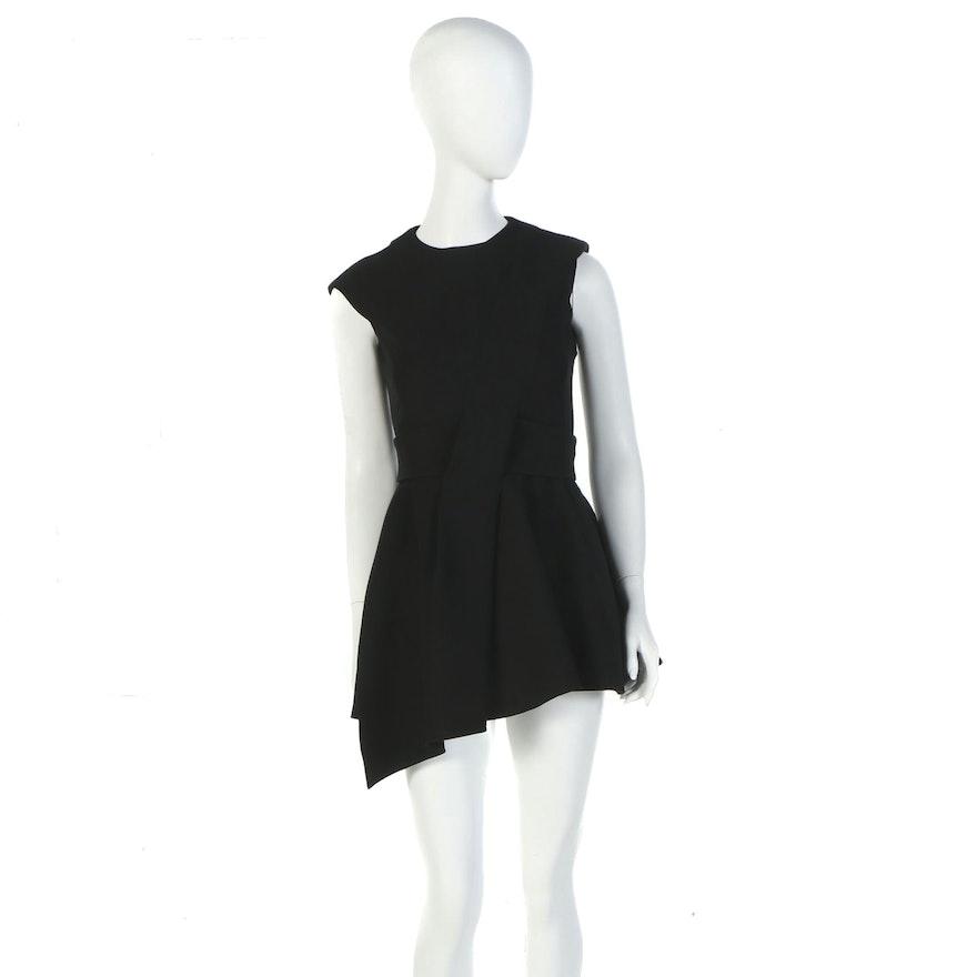 Christian Dior of Paris Black Wool Silk Blend Belted Mini Dress Tunic