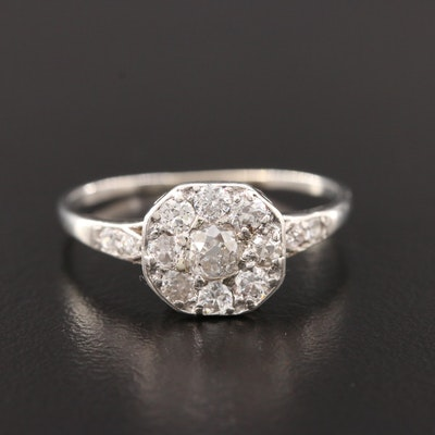 Edwardian Platinum and 9K Diamond Ring