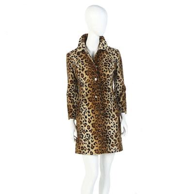 Susan Lucci Leopard Print Faux Fur Coat Signed by Susan Lucci