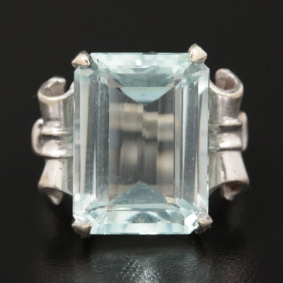 14K White Gold 9.23 CT Aquamarine Ring
