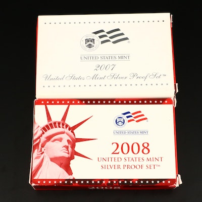 2007 and 2008 U.S. Mint Silver Proof Sets